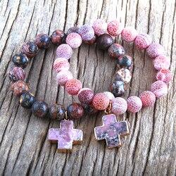 RH New Fashion Beads Cross Charm Bracelets Natural Stones Beaded Bracelets Women Jewelry Gift DropShipping