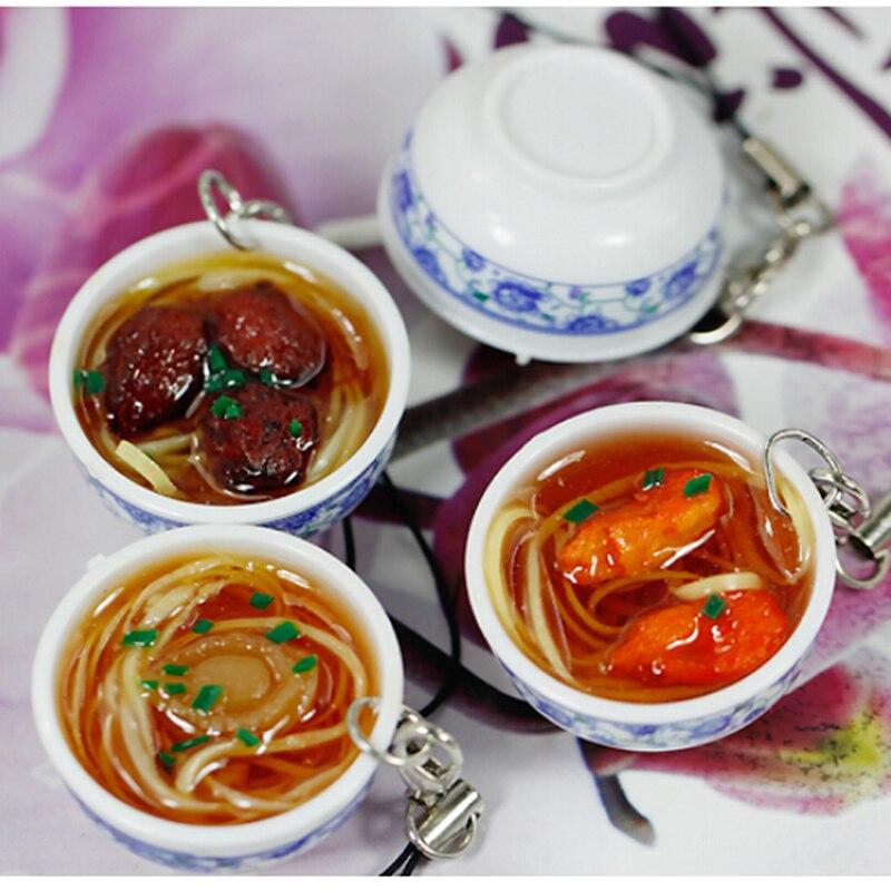 1Pc Mini Bag Pendant Simulation Key Chains Noodle Creative Delicious Food Keychain  Chinese Blue White Porcelain Food Bowl