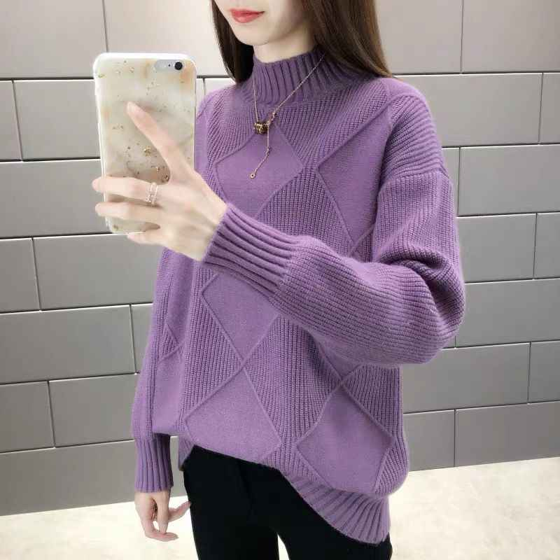 2019 새로운 패션 여성 스웨터 가을 겨울 탄성 pullovers 여성 단색 긴 소매 절반 터틀넥 캐주얼 여성 정상 1003