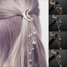 Retro Moon Rhinestone Tassel Beads Dangle Hairpin Hair Clip Bridal Jewelry Gift For Women Japanese Style цепочка на руку kyoto story japanese style glass beads