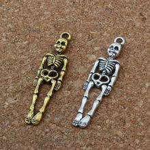 50 шт цинковый сплав скелет человека бусины в форме черепа 39x9