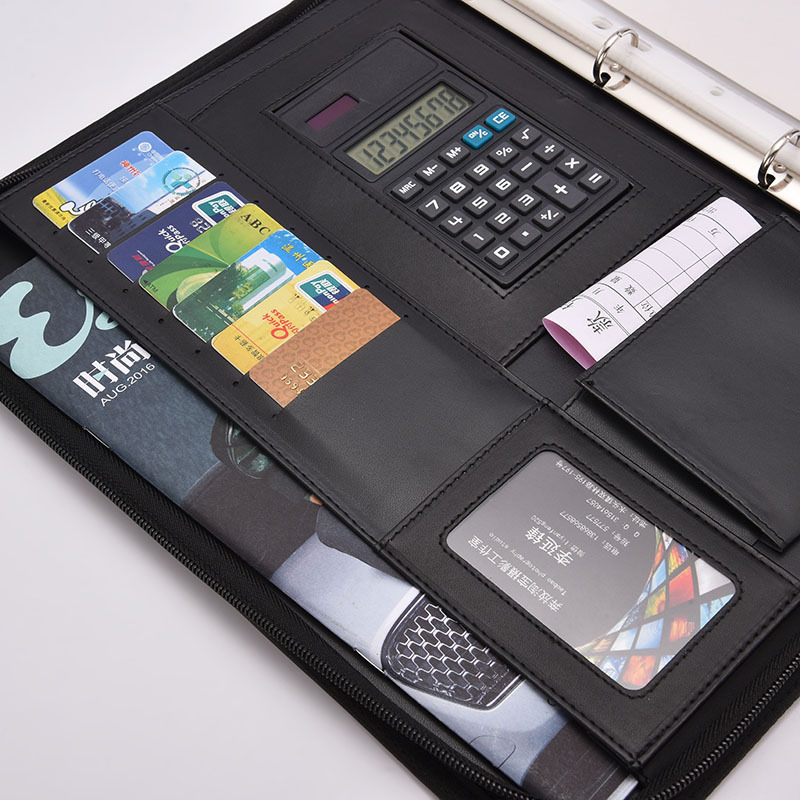 A4 Leather Document Bag Filing Products Organizer File Folder Zipper Ring Binder Ringband With Calculator Archivador Segregator