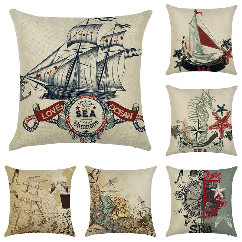 Retro Beige Steamship Pattern Cotton Linen Cushion Cover Sofa Mediterranean Style Throw Pillow Home Decorative case