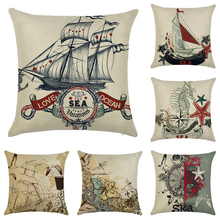 Retro Beige Steamship Pattern Cotton Linen Cushion Cover Sofa Mediterranean Style Throw Pillow Cover Home Decorative Pillow case cloud and balls pattern decorative throw pillow case