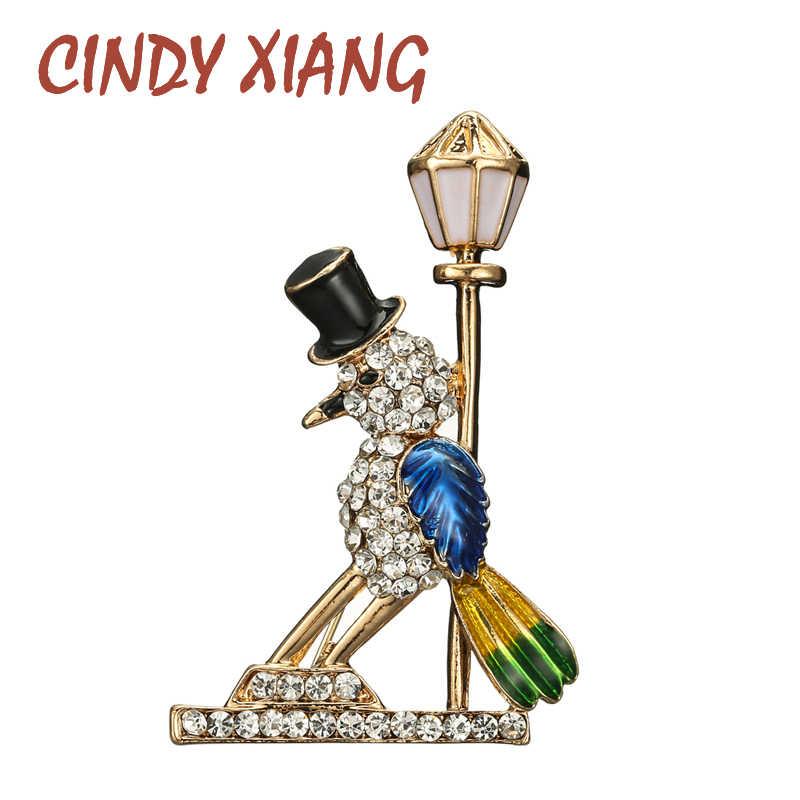 CINDY XIANG 착용 탑 햇 버드 브로치 스트리트 라이트 핀 에나멜 동물 브로치 귀여운 크리 에이 티브 디자인 패션 쥬얼리 새로운 2020