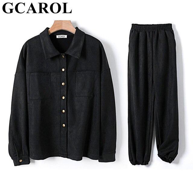 GCAROL Women Velvet Tracksuits Drop Shoulder Oversize Single-Breasted Jacket And Elastic Waist Overalls Cargo Pants In 4 Season 6