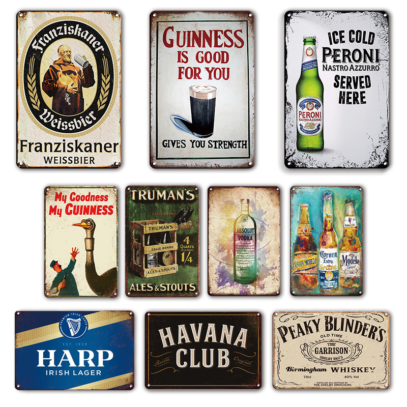 Bar Pub Wall Shelves Decorative Plaques Tin Sign Vintage Beer Brand Poster Metal Signs For Rustic Home Kitchen Living Room Decor