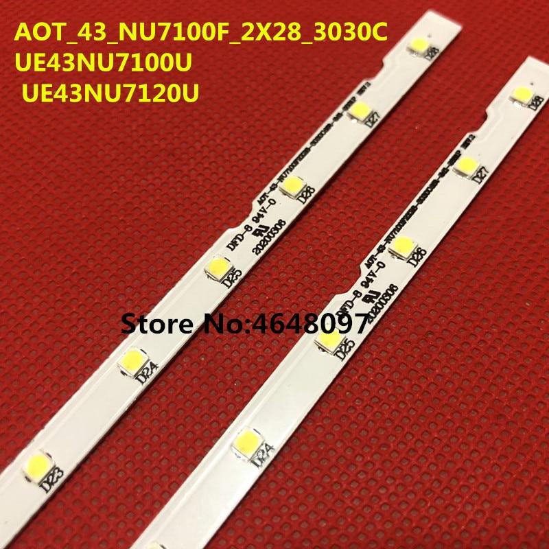 New 2 PCS 28LED LED Backlight Strip For Samsung UE43NU7100U AOT_43_NU7100F UE43NU7120U UE43NU7170U BN96-45954A UE43NU7100