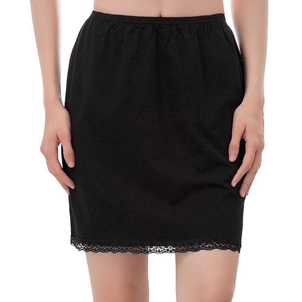 Women Elastic Waist Half Slip Petticoat Skirts Underskirt Lady Crinoline Milk Silk White Lace Commuter Office Ladies Skirt(China)