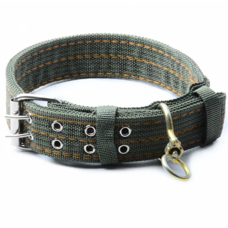 Alc48-1 Four Layer Thick Army Green Large Size 4CM Pet Collar New Generation Double Row Swivel Buckles Dog Collar