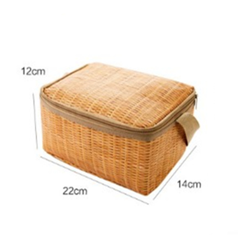 Imitation Rattan Waterproof Thermal Insulation Lunch Bag Or Picnic Food Storage Container Large Lunch Bento Box Camping Tools