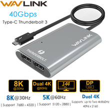 Intel Certified Thunderbolt 3 adapter Dual DisplayPort 8K@30hz Adapter 4K&5K@60Hz Type C Splitter video display for macbook pro