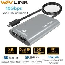 محول Thunderbolt 3 معتمد من إنتل ثنائي المنفذ 8K @ 30hz محول 4K & 5K @ 60Hz نوع C شاشة فيديو الخائن لماك بوك برو