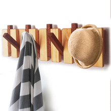 Wood Coat Rack Hanger with Flip-Down Hooks Home Decor Furniture Living Room Bedroom Entryway Organizer for Hanging Coats Purses