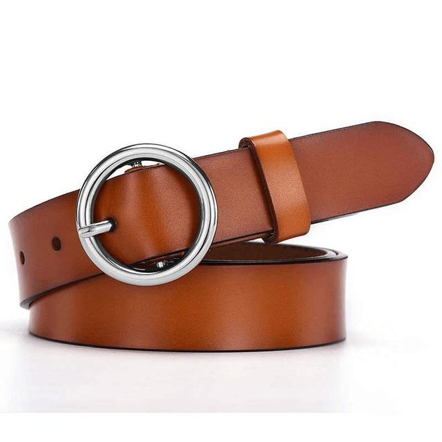 NO. ONEPAUL женские ремни с золотой пряжкой для джинсов женщин, модные студенческие простые новые круглые пряжки ремень в клетку - Цвет: YQ01 brown silver