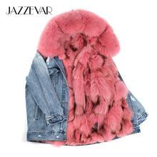 JAZZEVAR 2019 ใหม่ฤดูหนาวแฟชั่น High Street สตรี denim แจ็คเก็ตขนาดใหญ่จริงฟ็อกซ์ขนสัตว์ parka ซับที่ถอดออกได้ Hooded Coat