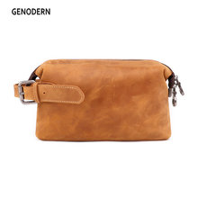 GENODERN Vintage Men Cosmetic Bag Case Crazy Horse Leather M