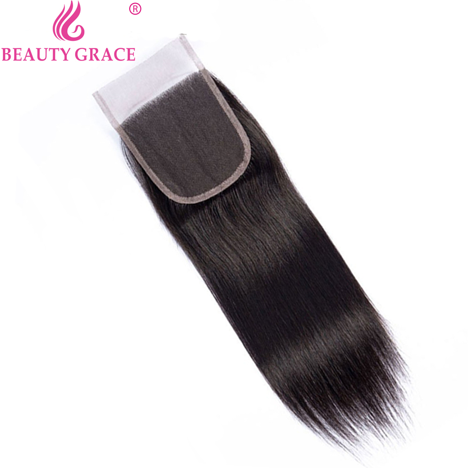 Beauty Grace Straight Hair Bundles With Closure Non-Remy Brazilian Hair Weave Bundles 8