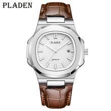 цена на PLADEN Top Brand Men's Watch Men's Designer Luxury Brand Men's Quartz Watch Brown Leather Richard Unique Men's Luxury Watch