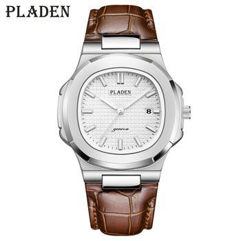PLADEN Top Brand Men's Watch Men's Designer Luxury Brand Men's Quartz Watch Brown Leather Richard Unique Men's Luxury Watch