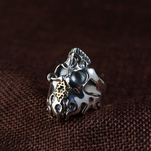 ORIGINAL 925 STERLING SILVER SKULL FLAME RING