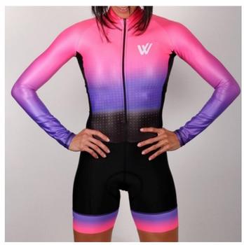 Triathlon skinsuit verão esportes das mulheres manga longa conjunto camisa de ciclismo macacão roupa feminina uniforme 2020 17