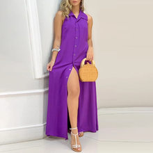 Kobiety elegancka koszula sukienka Backless Lapel sukienki z rozcięciem seksowna sukienka Maxi sukienki dla kobiet długa sukienka Eam sukienka Plus rozmiar sukienki