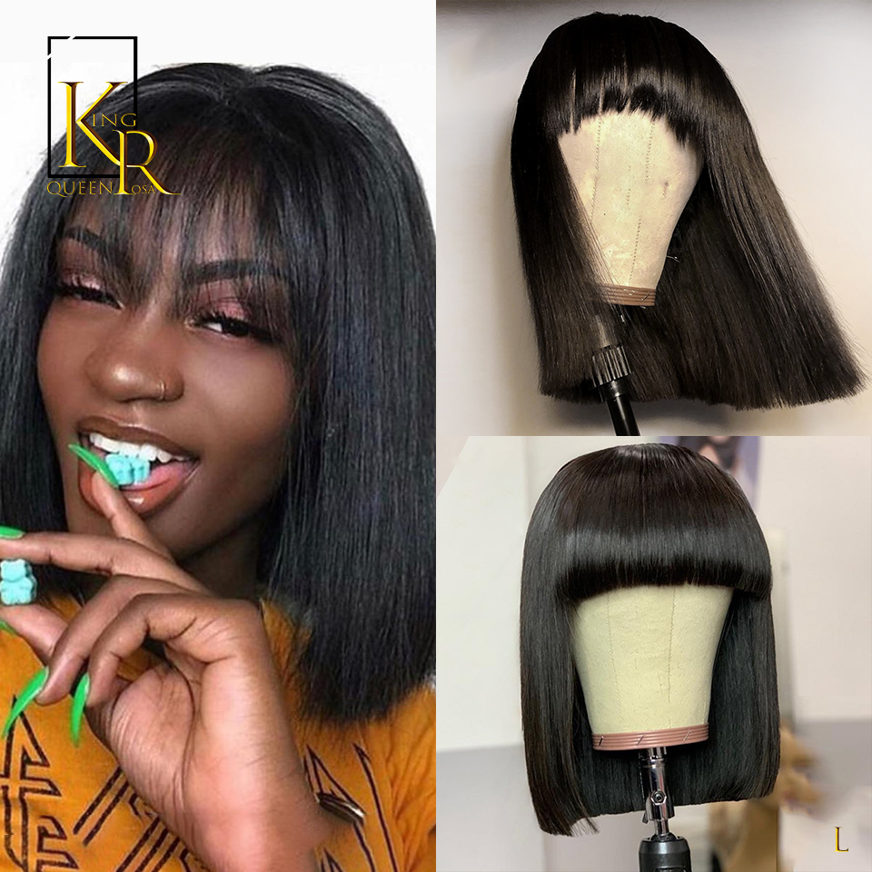 Short Lace Front Human Hair Wigs Remy Brazilian 13x4 Straight Bob Fringe Wig With Bangs 130% 150% 180%Density Low Ratio Bleached