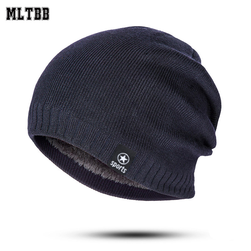 New Winter Hat Men Solid Color Knitting Wool Beanies Autumn Winter Warm Comfortable Hat Outdoor Accessories Thick Cotton Hats title=