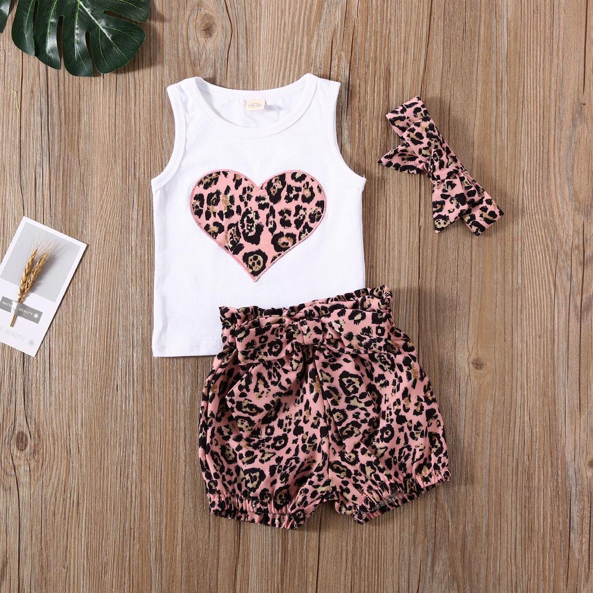 Emmababy Newborn Baby Girl Clothes Summer Leopard Print Peach Heart Sleeveless Tops Short Pants Headband 3Pcs Outfits Sunsuit