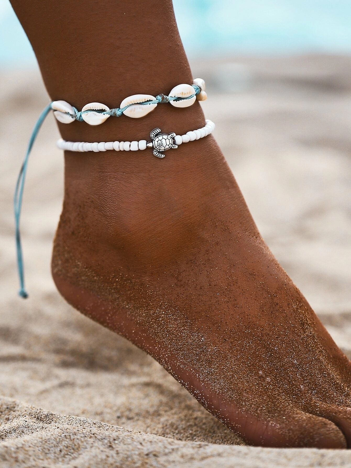 Creative Vintage Beach Anklet Women's Fashion Turtle Shell Beads Anklet Set 2-Piece Set Fashion Jewelry