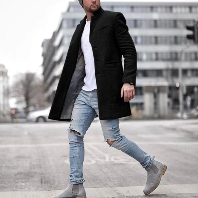 Men's Overcoats Vintage Casual Wool Blends High Quality