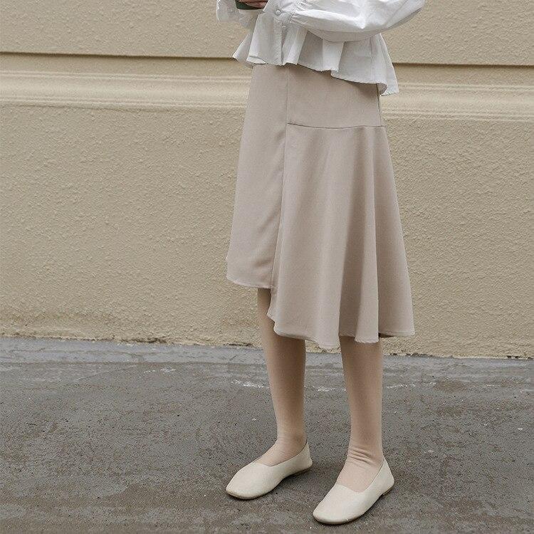 Photo Shoot Joint Asymmetric Skirt 2019 Women's Spring Mid-length Simple High-waisted Slimming Fishtail Skirt Short Skirt Women'