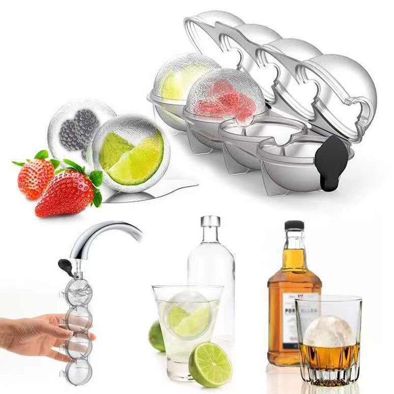 Форма для льда с 4 ячейками, большие размеры, формы для шариков и льда, сфера, круглая форма для виски, коктейля «сделай сам», для льда, для бар...