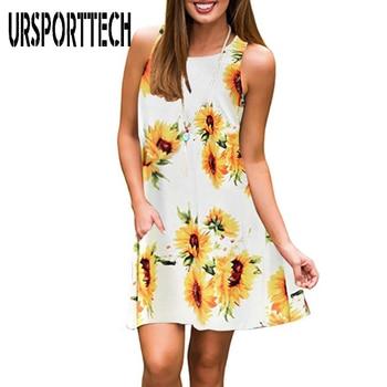 Sexy Women Dress Summer 2020 Floral Print Casual Sleeveless Mini Dress For Women Plus Size 3XL Loose Boho Dress Lady Dresses stylish floral print mini cami dress for women