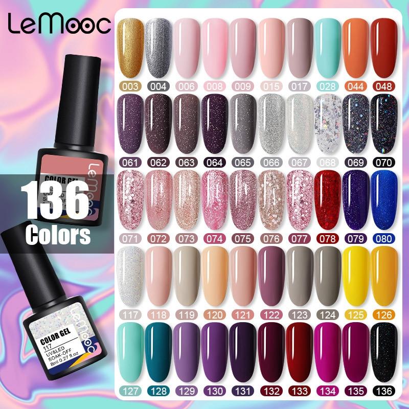 LEMOOC гель-лака для ногтей 136 Цвета ярких лаков био-Гели Soak Off Semi перманентность блестящим отливом Блестки для ногтей Лаки