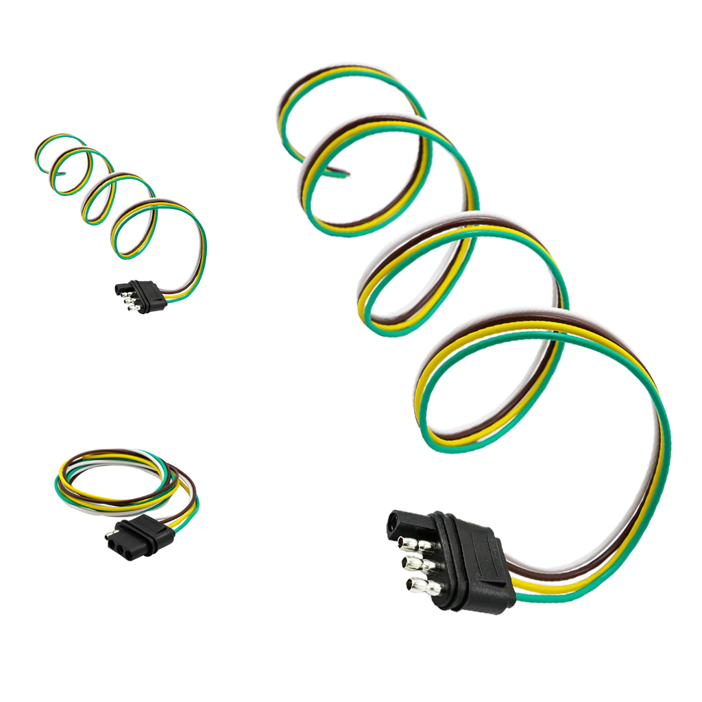 MagiDeal 152cm 4 Pin RV Trailer Light Wiring Harness Line Plug Adapter Flat Cable Connector