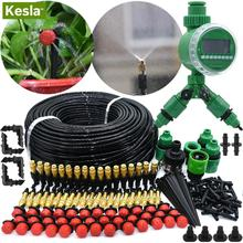 KESLA 5M-50M Automatic Garden Watering System Kits Timer Controller DIY Garden Micro Drip Irrigation Mist Spray Cooling System cheap KSL01-KIT074 Plastic Watering Kits Drip Irrigation Watering System Kits for Watering Flower Bed Lawn in Garden Balcony