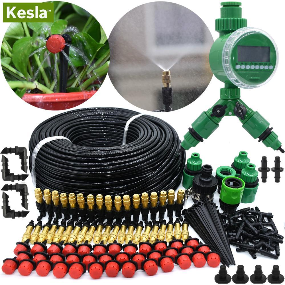 KESLA 5M-50M Automatic Garden Watering System Kits Timer Controller DIY Garden Micro Drip Irrigation Mist Spray Cooling System
