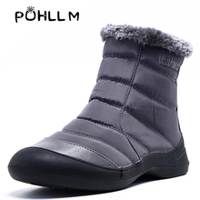 PUHLLM Winter Boots Ankle Unisex Monophonic Mens Shoes With Non-slip Soles a Plush Lining Waterproof 29