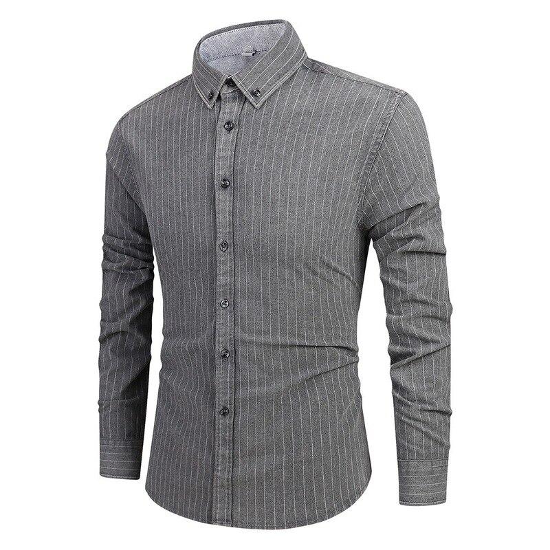 Хит продаж 2019 года, весенние и летние новые модные полосатые мужские рубашки с длинным рукавом, повседневные тонкие мужские рубашки с