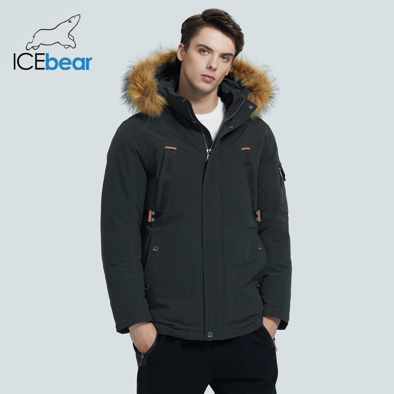 ICEbear 2020 winter new men's jacket mid-length cotton jacket with fur collar brand clothing MWD20897D