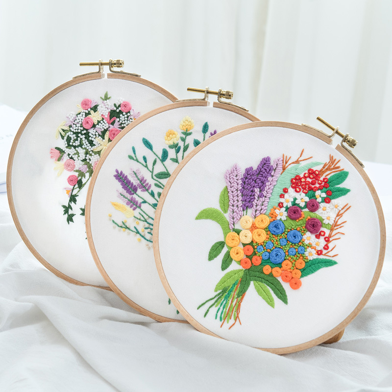 Flower Printed Pattern Embroidery Kits for Beginner Needlework Cross Stitch Handmade Sewing Craft Wall Painting Art Home Decor(China)