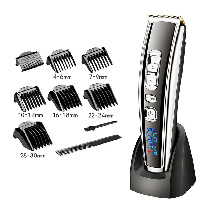Adjustable Trimmer Cordless Electric Shaver For Men Hair Clipper With Titanium Ceramic Blade Lcd Display Shaving Machine 45D Hair Trimmers     - title=