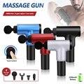Con pistolas de masaje de 4 cabezas 6 engranajes, masajeador de músculos, máquina de masaje deportivo para el dolor, relajación del cuerpo, alivio adelgazante 1200 ~ 4000r/min