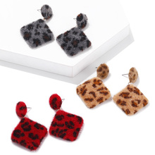 Retro Square Leopard Earrings Japanese Korean Style Cute Hair Ball Winter Drop For Women Girls Best Christmas Gift