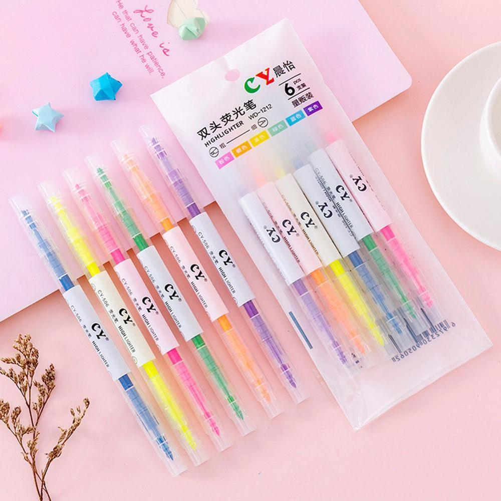 6 Pcs/pack Double Head Colors Oblique Green Yellow Highlighters Promotional Art Markers Fluorescent Pen Gift Stationery