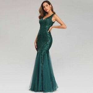 Image 3 - YIDINGZS ירוק שמלת ערב ללא שרוולים אלגנטי בת ים ארוך פורמליות המפלגה שמלת YD9682