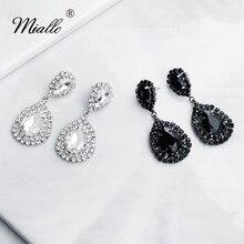 Miallo 2019 Newest Black Silver Wedding Earring Austrian Crystal Bridal Water Drop Women Eardrop