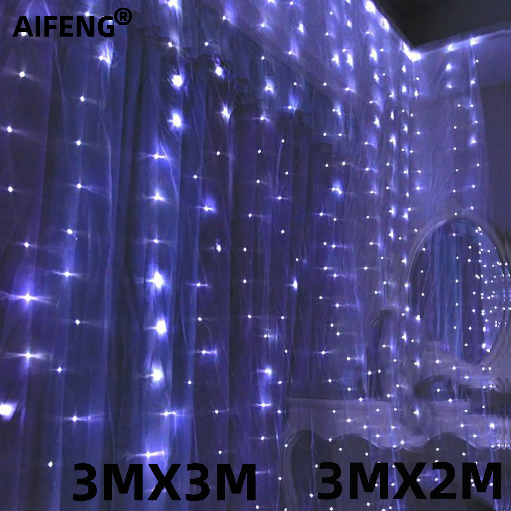 Aifeng 3*3M 300leds 3*2M 200leds Waterproof  Christmas Decorative Wedding Xmas String Fairy Curtain Garlands Strip Party Lights